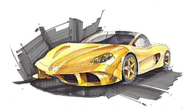 彩铅手绘汽车教程